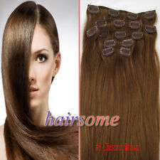 "New 15"" 18"" 20"" 22"" Clip In Remy Human Hair Extentions #8 Chestnut Brown 100g"