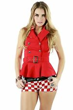 AFTERPINK New Ruffled Military Button Down Vest With Belt Women Top Clubwear