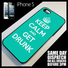 Cover for iPhone 5 Five Keep Calm Carry On Get Drunk Funny Quirky  Case +7022