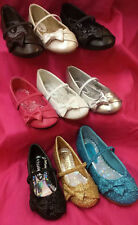 New Little Angels WEDDING TODDLER glitter faux leather ballerina flats bow SHOES