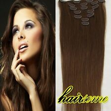 "70g 100g Clip in Remy Human Hair Extentions #6 Brown 15""18""20""22""  HOT SALE HSME"