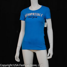 Aeropostale Women Short Sleeve - New York Patch Graphic Turquoise NWT