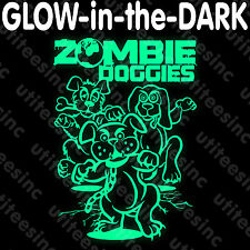 Zombie Doggies GLOW-in-the-DARK T-SHIRT Funny Scary Halloween Party Tee S-5XL