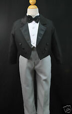 Baby & Boys Formal Wedding Party Tail Tuxedo Suit BLACK S M L XL 2T 3T 4T 5 6 7