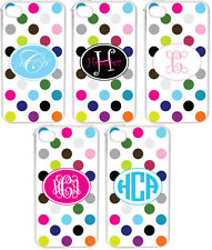 Rainbow Polka Dot Pattern Personalized iPhone 4 4S Custom Monogrammed Case Cover
