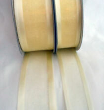 25 Yds Roll of  Maize/Pale Lemon  Satin Edge Organza Ribbon  25mm and 38mm