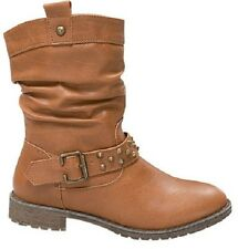 Women's Tan Motorcycle Combat Boot with Lug Sole Studs and Strap