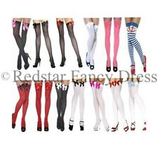 LADIES OVER THE KNEE SOCKS STOCKINGS THIGH HIGH WITH BOWS HOLD UPS - ALL COLOURS