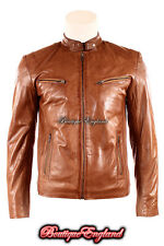 'SPEED' Men's TAN Cool Retro Biker Style Motorcycle Soft Nappa Leather Jacket