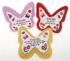 FRIENDS SENTIMENT BUTTERFLY DESIGN CUSHION LOVELY BIRTHDAY / CHRISTMAS GIFT NEW