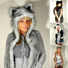Futrzane Faux Fur Cute Animal Ears Hat Gloves Mittens Scarf Hood Paws