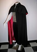 CLOAK Victorian Men's Opera Cape Capelet LINING Black Red Gold Wine S to XL
