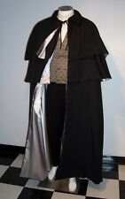 Victorian Men's Opera Cape with 2 Capelets Black Cloak Floor Length White Domino