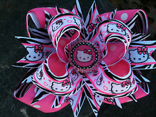HELLO KITTY ZEBRA & PINK BOTTLECAP HAIRBOW WITH OPTIONS