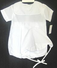 Petit Ami 3711  1 Pc Christening  Romper, Cross on Collar Cap.Boy's 12-24M .