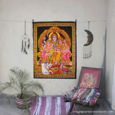 shiva family ganesha & parvati sequin wall hanging tapestry hindu home decor art