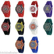 Men's University Collegiate Licensed Silicone Watch with CZ Bling Rhinestone