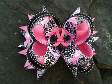 BREAST CANCER AWARENESS RESIN BOUTIQUE HAIRBOW