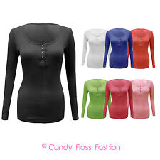 NEW LADIES LONG SLEEVE DIAMOND BUTTON RIBBED MUSCLE TOP WOMENS T SHIRT SIZE 8-14
