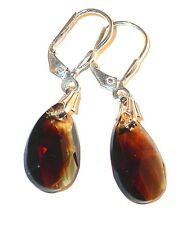 SWAROVSKI CRYSTAL Elements Sterling Silver 16mm Pear Earrings TOPAZ BLEND Brown
