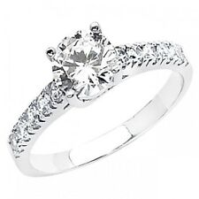 14K Solid 1.3ct VS1-D Round Cut Simulated Diamond Solitaire Engagement Ring