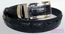 BLACK CROCODILE HORNBACK SKIN LEATHER MEN'S EXOTIC ADJUSTABLE  BUCKLE BELT