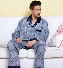 Mens Silk Pajamas Sleepwear PJS Set U.S.S,M,L,XL,XXL,3XL Pants Long Sleeves Blue