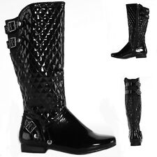 Womens Winter Biker Style Slouch Low Flat Heel Quilted Leg Knee Boots Size