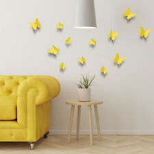 3D Butterflies Yellow Wall Stickers Docors Art Butterfly Decor Paper Mural
