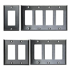 Decorator Brushed Stainless Rocker Wall Switch Plate Outlet Cover 1 2 3 4 Gang