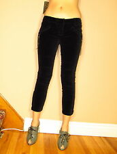 $231 Rich&Skinny Slimming Black Velvet Skinny Pants Zip Leg Motocross Knee 25 28