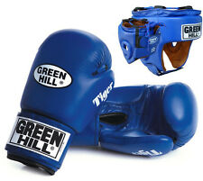 OFFERTA SET GUANTI TIGER BLU + CASCO FIVE STAR AIBA BOXE GREEN HILL SPARRING