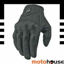 ICON MENS PURSUIT MOTORCYCLE LEATHER VENTED PERFORATED GLOVES BLACK
