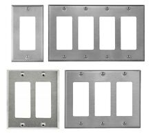 Brushed Stainless Steel Wall Plate Decorator GFCI Rocker Switch Outlet Covers