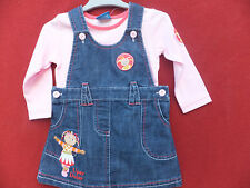 NEW GIRL'S UPSY DAISY DENIM PINAFORE DRESS & TOP SET, EMBROIDERY Size 6 - 23 Mts