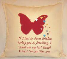 Personalised 'If I had to choose. butterfly heart Love Embroidered Cushion Cover