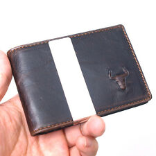 New Vintage Style Cowhide Leather Brown MoneyClip Wallet Purse-MJ9223/9222