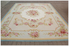 BLUE IVORY w PINK ROSE Aubusson Area Rug FREE SHIP Wool Woven SHABBY FRENCH CHIC