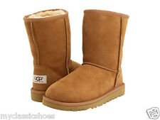 UGG AUSTRALIA WOMEN'S CLASSIC SHORT BOOTS GENUINE SHEEPSKIN CHESTNUT 5825