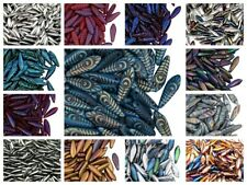 CHOOSE COLOR! 50pcs Dagger Beads 5x16mm Czech Glass Pressed Beads