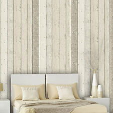 Scrapwood Wallpaper, Reclaimed Wood Wallpaper Beige & Cream tones, Striped wood