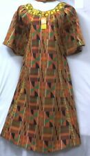 Women African Style Clothing  Kente Dress with head piece  Orange Green Wine 03