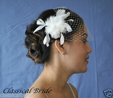 Bandeau 900 VEIL SET w/ PEARL Feather Hair Clip & Ivory / White Birdcage Blusher