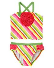 NWT Gymboree Stripe Ruffle Flower Tankini 2-Piece Swimsuit Swimwear NEW Kid Girl