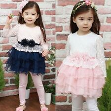 New Kids Toddlers Fowers Girls Multi-Layer Tutu Pompon Cake Dress 3-8 Y D146