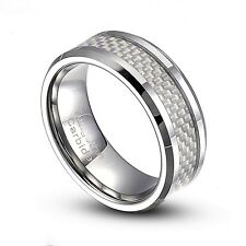 Tungsten Carbide 8mm White Carbon Fiber Inlay Comfort Fit Ring Size 8-14 TG005