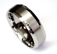 8Mm Tungsten Carbide Comfort Fit Size Wedding Band Men Jewelry Brushed Center