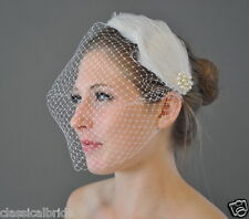 Bandeau 802 VEIL SET w/ PEARL Feather Hair Clip & Ivory / White Birdcage Blusher
