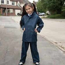 KIDS CHILDS YOUTHS HOODED WATERPROOF JACKET & TROUSER SUIT SET 3 Cols BOYS GIRLS