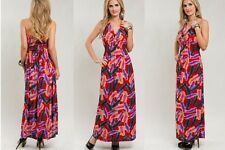 NWT WOMENS LONG FEATHER PRINT MAXI CRUISE DRESS HALTER RED PINK PLUS 1X 2X 3X